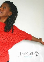 Book cover of woman in red sweater, half visible from edge of spine. With JimiKnits logo.